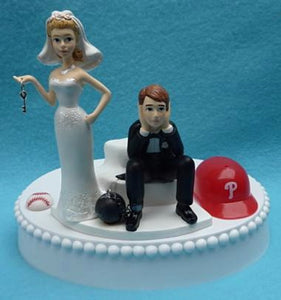 Philadelphia Phillies cake topper wedding MLB baseball Phils bride groom key ball chain humorous funny reception gift item idea