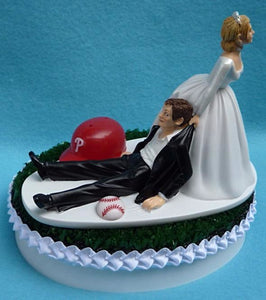 Philadelphia Phillies wedding cake topper Phils MLB baseball sports fans fun bride dragging groom humorous