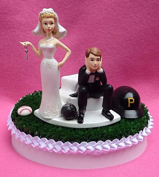 Pittsburgh Pirates cake topper wedding baseball MLB sports fans fun Bucs humorous funny bride groom sad ball key chain marriage humor