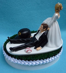 Pittsburgh Pirates wedding cake topper Bucs MLB baseball sports fans fun bride dragging groom humorous funny FunWeddingThings.com