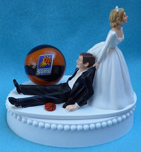 Phoenix Suns wedding cake topper NBA basketball sports fans bride groom fun Fun Wedding Things funny humorous sporty reception gift item idea PHX