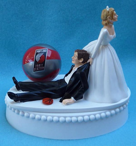Portland Trail Blazers wedding cake topper NBA basketball Trailblazers sports fans fun groom's cake top humorous funny FunWeddingThings.com reception gift item idea