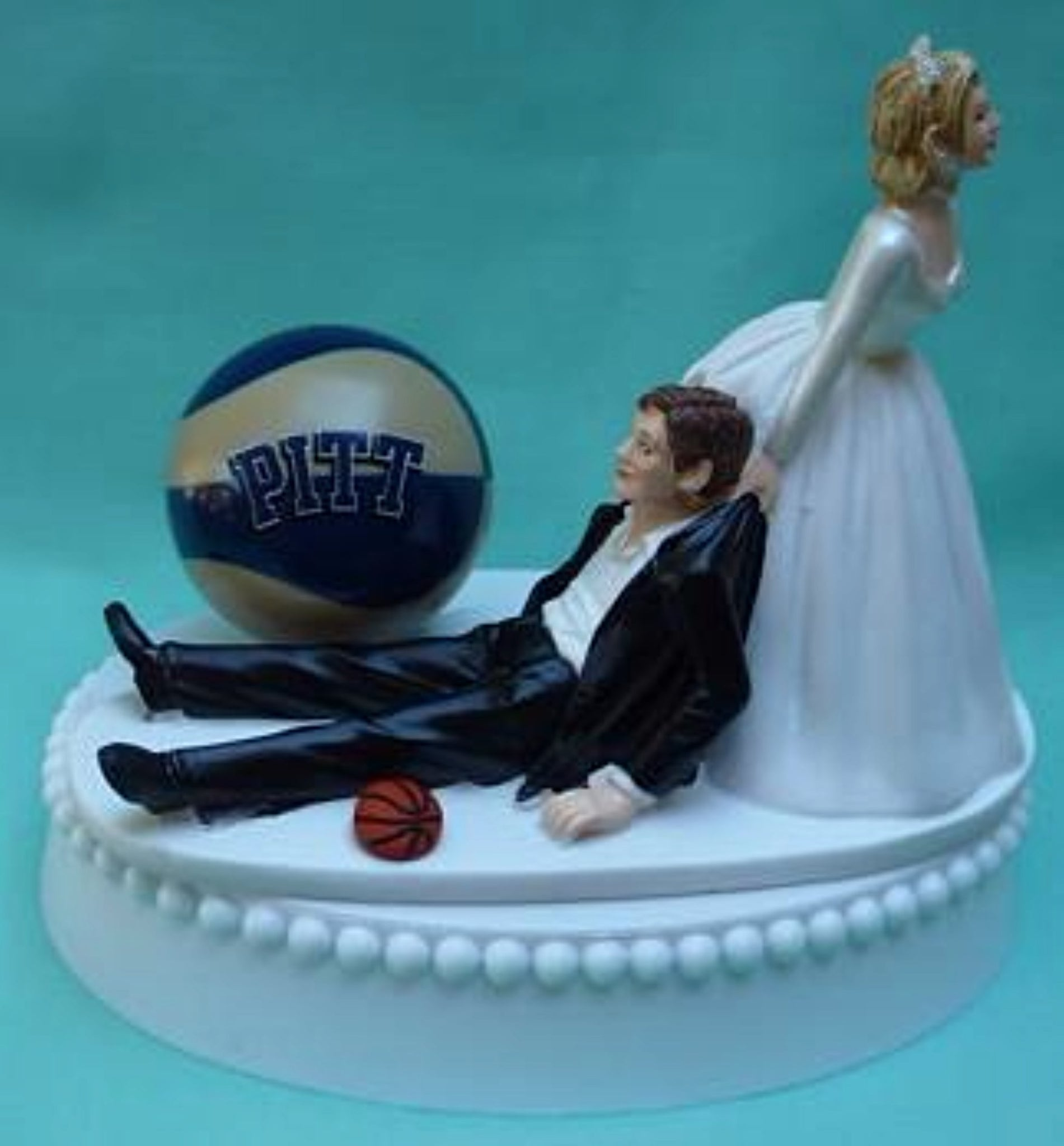 Pitt Panthers basketball wedding cake topper University of Pittsburgh funny humorous Fun Wedding Things bride groom