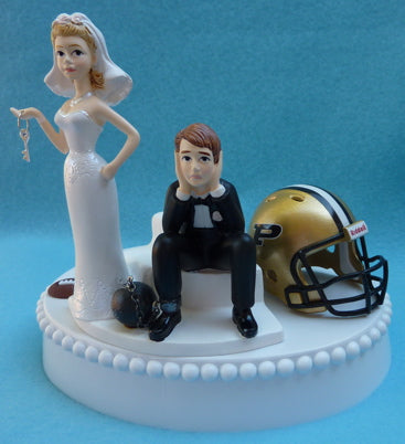 Purdue Boilermakers wedding cake topper University PU football humorous sports fans funny bride sad groom ball chain key Fun Wedding Things