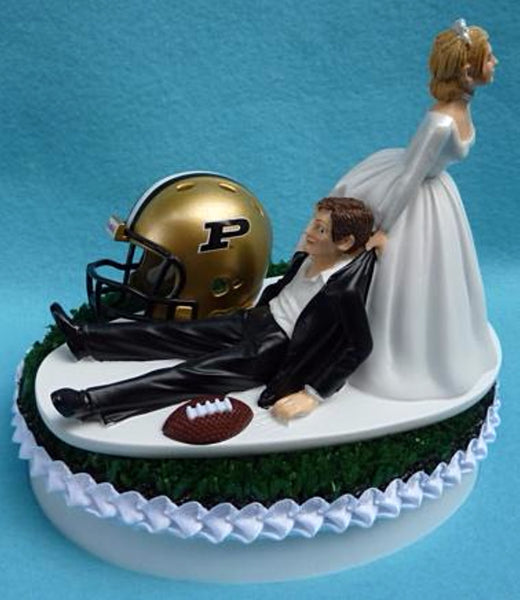Wedding Cake Topper - Purdue University Boilermakers Football Themed PU