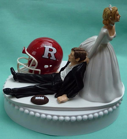 Rutgers University wedding cake topper Scarlet Knights RU groom's cake top football sports fans fun bride dragging groom reception gift funny Fun Wedding Things