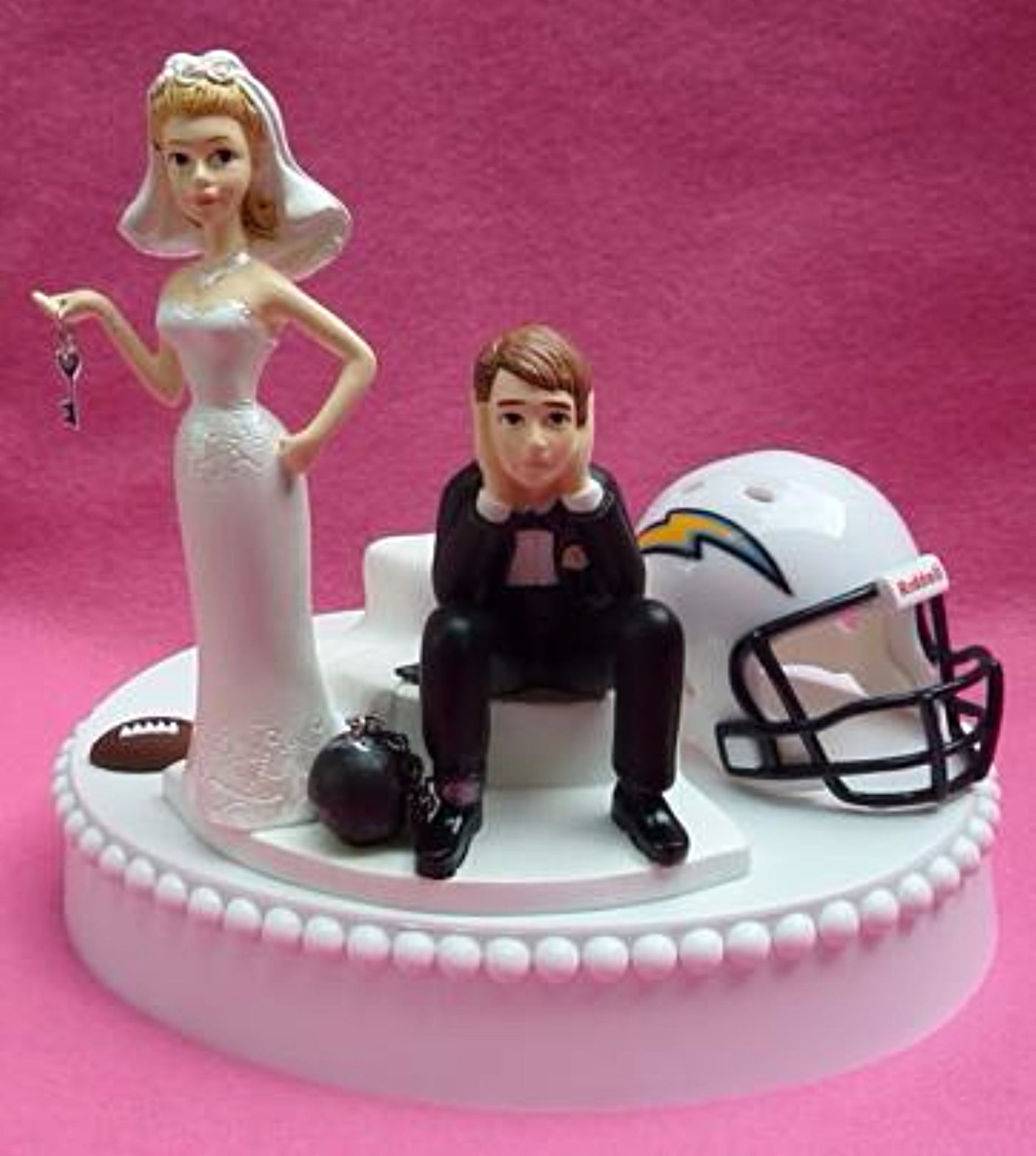 Los Angeles Chargers wedding cake topper football bride dejected groom NFL humorous funny ball and chain reception sports fans