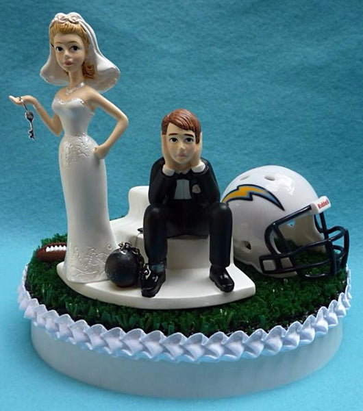 Wedding Cake Topper - Los Angeles Chargers Football Themed Key L.A.