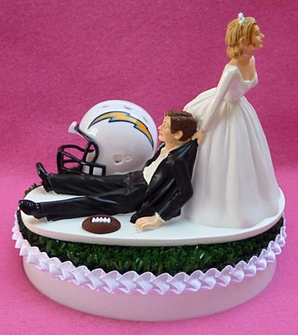 Los Angeles Chargers cake topper wedding FunWeddingThings.com humorous funny bride dragging groom unique green Turf