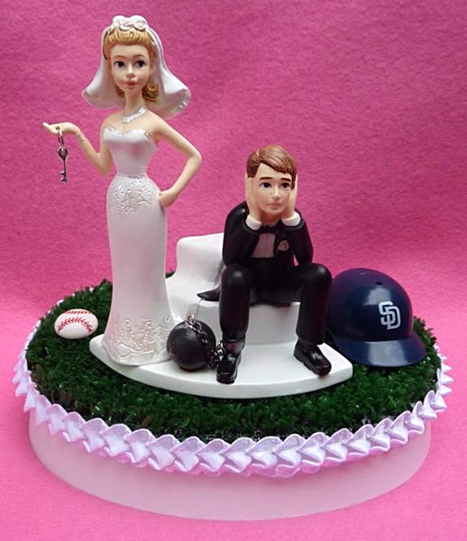 Wedding Cake Topper - San Diego Padres Baseball Themed Key SD