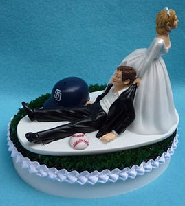 San Diego Padres wedding cake topper SD MLB baseball fans sports fun bride dragging groom humorous reception gift item idea