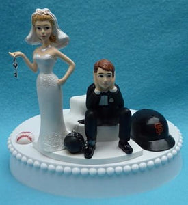 Wedding Cake Topper - San Francisco Giants Baseball Themed Key SF