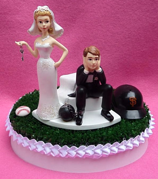 SF Giants wedding cake topper baseball San Francisco sports fans bride groom humorous MLB groom's cake top funny unique original green turf reception gift item idea
