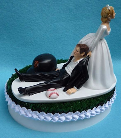 San Francisco Giants wedding cake topper SF MLB baseball fans sports Bride dragging Groom humorous funny reception gift item idea