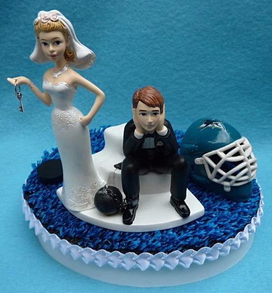 Wedding Cake Topper - San Jose Sharks Hockey Themed Key