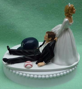 Seattle Mariners wedding cake topper M's groom's cake top humorous funny MLB baseball sports fans bride groom reception