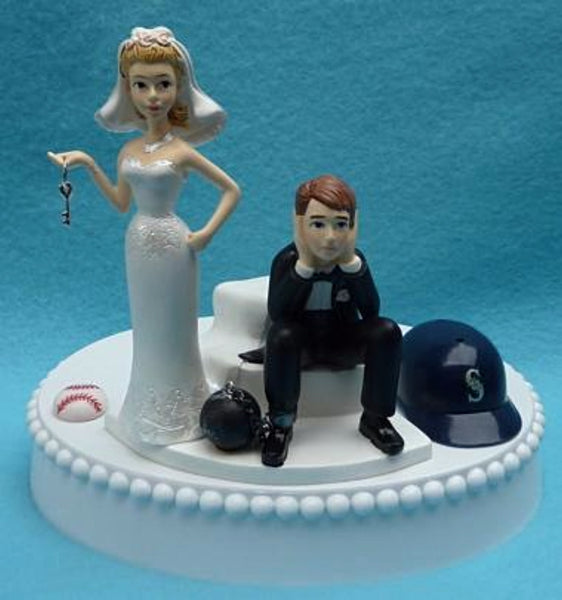 Wedding Cake Topper - Seattle Mariners Baseball Themed Key
