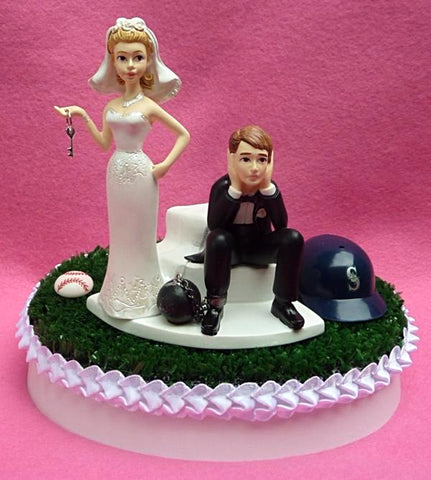 Seattle Mariners cake topper wedding M's MLB baseball sports fans fun bride sad groom humorous unique funny reception gift item idea