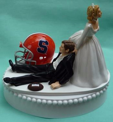 Syracuse University wedding cake topper Orange SU football groom's cake top humorous bride dragging groom sports fans funny reception gift Fun Wedding Things