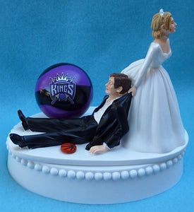 Sacramento Kings wedding cake topper NBA basketball fans funny humorous bride dragging groom Fun Wedding Things reception gift item idea