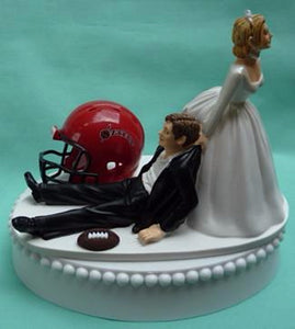 San Diego St. University wedding cake topper SDSU Aztecs State groom's cake top football sports fans funny bride dragging groom humorous reception gift Fun Wedding Things