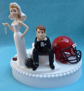 SDSU Aztecs wedding cake topper San Diego St. University football funny bride sad groom humorous ball chain key sports Fun Wedding Things