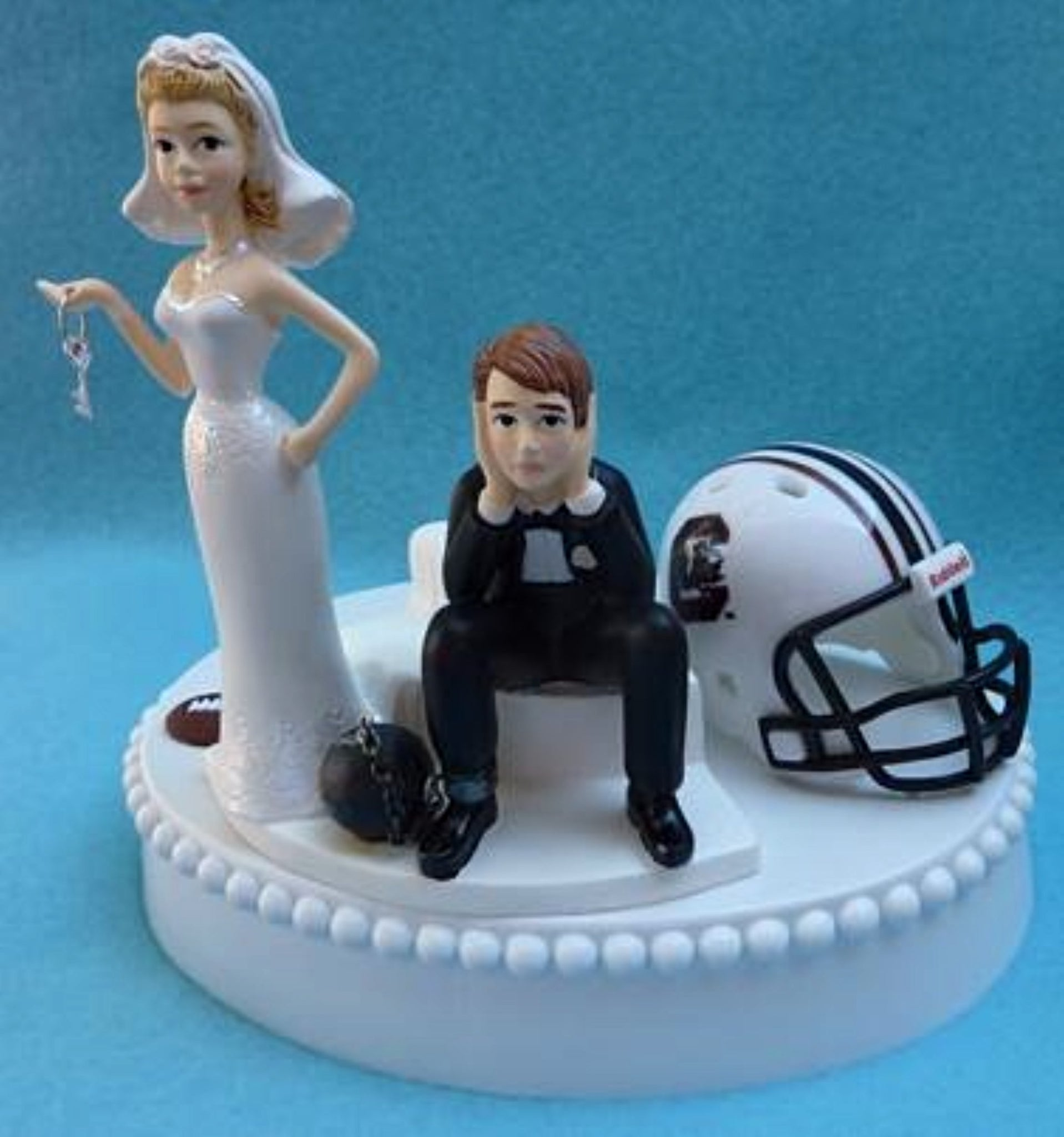 University of South Carolina Gamecocks wedding cake topper USC humorous football fans bride sad groom ball chain funny key Fun Wedding Things