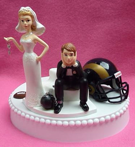 Los Angeles Rams wedding cake topper NFL football L.A. sports fans humorous reception gift item idea bride groom ball chain key funny