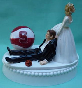 Stanford basketball wedding cake topper University Cardinal sports fans bride groom funny humorous Fun Wedding Things