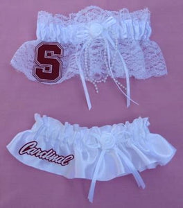 Stanford University Cardinal wedding garter set bridal garters lace satin toss keepsake reception Fun Wedding Things