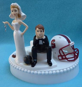 Stanford Cardinal wedding cake topper University football bride sad groom humorous ball chain key funny Fun Wedding Things