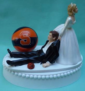 Syracuse basketball wedding cake topper Orange Orangemen University SU fans bride groom humorous funny Fun Wedding Things
