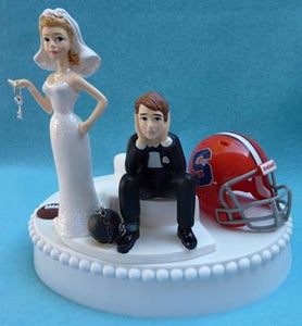 Syracuse Orange wedding cake topper football University funny bride sad groom ball chain key humorous Fun Wedding Things