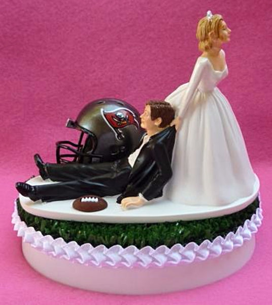 Tampa Bay Buccaneers wedding cake topper TB Bucs NFL football sports fans fun reception bride groom