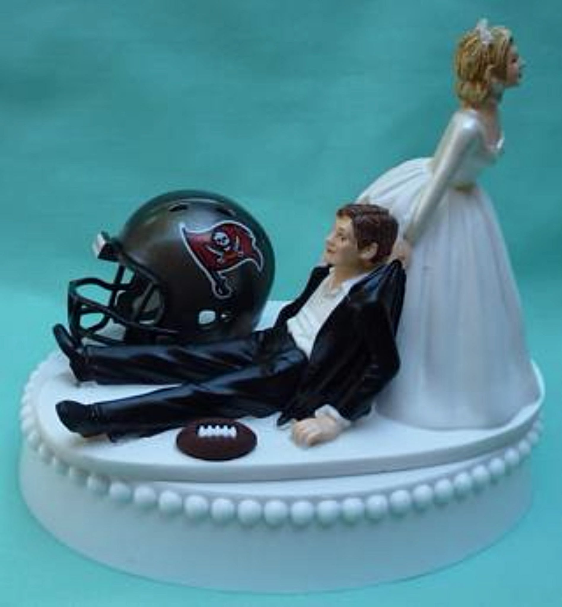 Tampa Bay Buccaneers cake topper wedding Bucs FunWeddingThings.com reception TB NFL football fans sports humorous