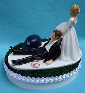 Tampa Bay Rays wedding cake topper MLB baseball groom's cake top green turf humorous funny reception gift