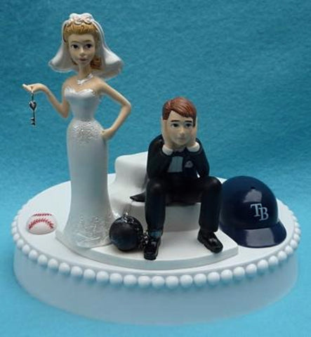 Tampa Bay Rays wedding cake topper sports fans humor bride dejected groom ball and chain key MLB baseball reception humorous