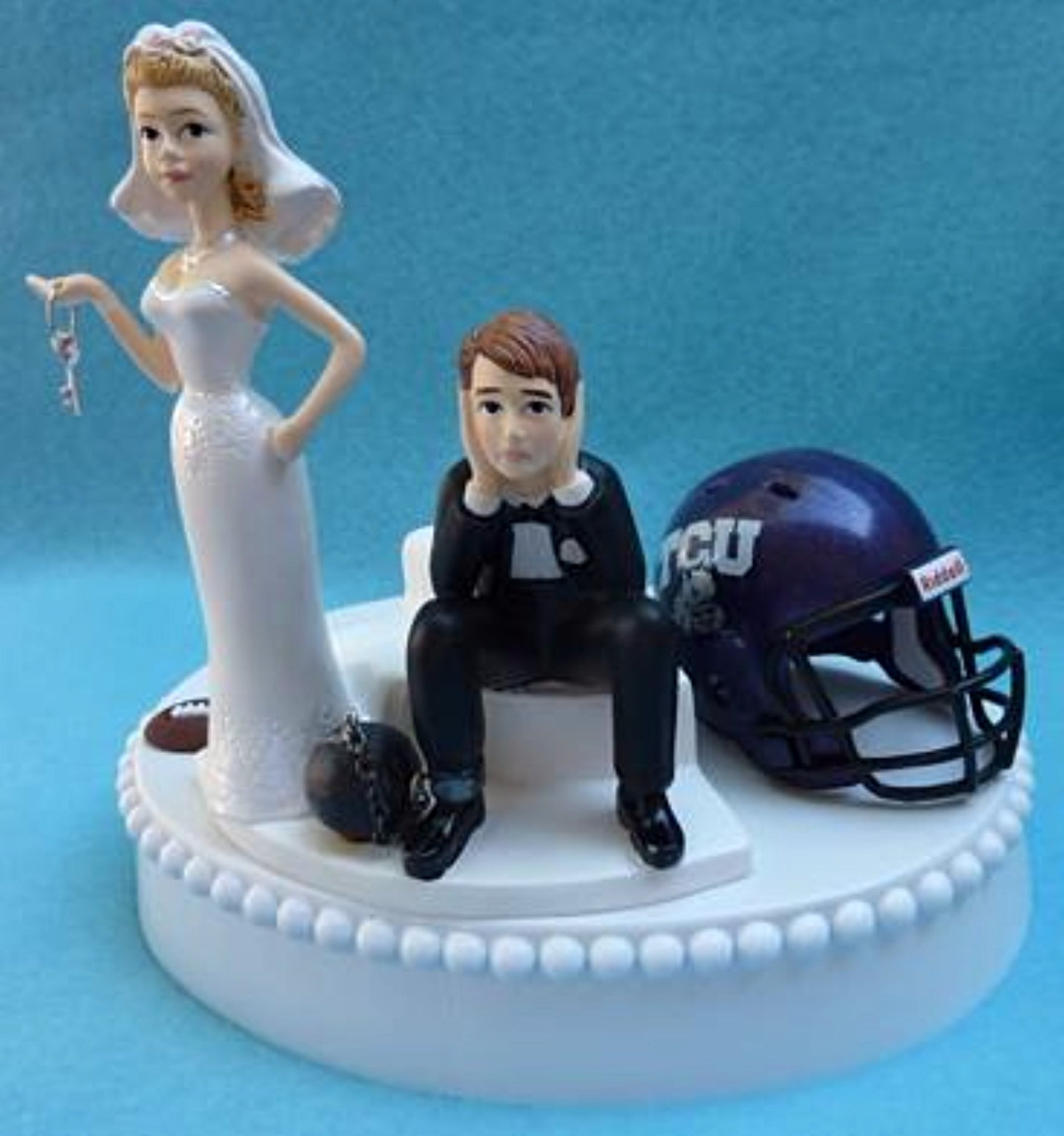 TCU Horned Frogs wedding cake topper Texas Christian University football funny bride sad groom ball chain key humorous Fun Wedding Things