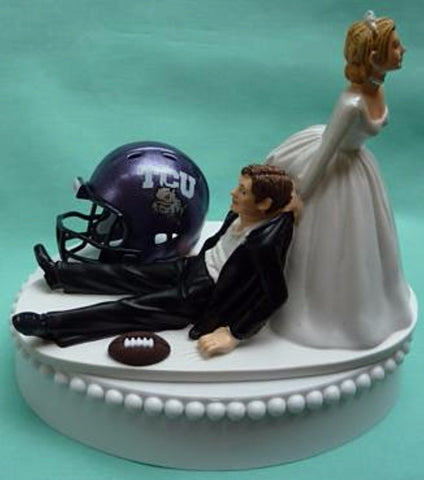 TCU wedding cake topper Horned Frogs Texas Christian University football sports fans funny bride dragging groom humorous groom's cake top Fun Wedding Things reception