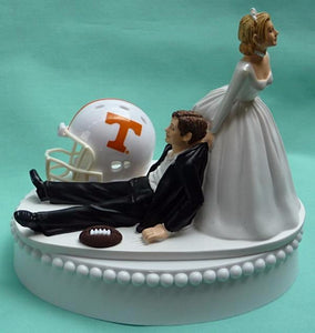 Wedding Cake Topper - University of Tennessee Volunteers Football Themed UT Vols