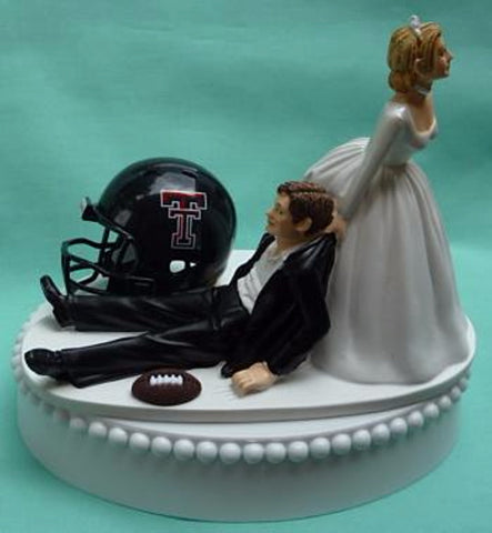 Texas Tech University wedding cake topper Red Raiders football TT groom's cake top humorous bride dragging groom ball helmet green turf sports fans sporty Fun Wedding Things reception gift
