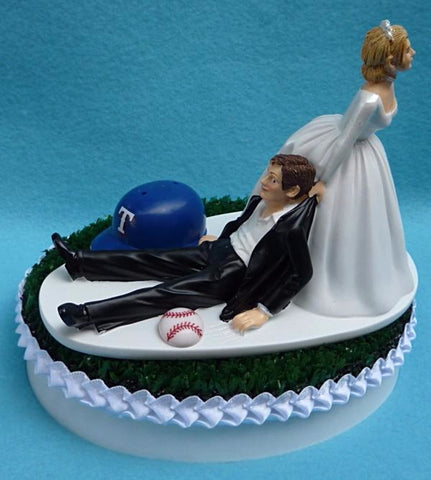 Texas Rangers wedding cake topper TX MLB baseball sports fans bride dragging groom funny humorous reception