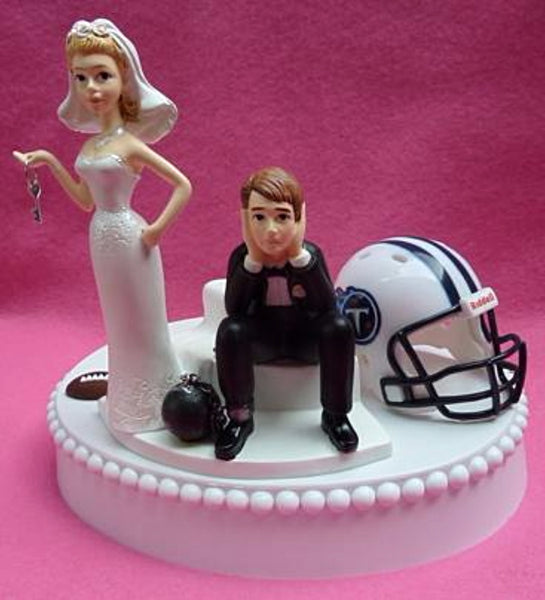 Tennessee Titans wedding cake topper TN football fans NFL sports bride dejected groom humorous funny reception gift item idea