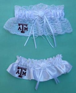 Texas A&M Aggies wedding garter set University Bridal garters lace satin reception fans Fun Wedding Things