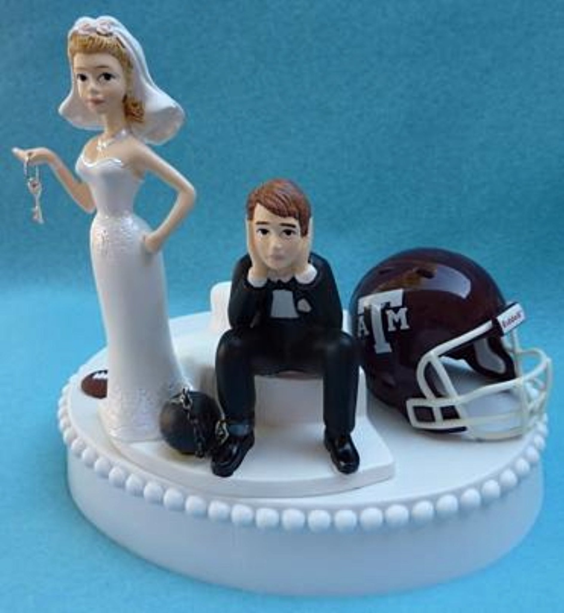 Texas A&M wedding cake topper University Aggies football funny bride sad groom ball chain key humorous Fun Wedding Things