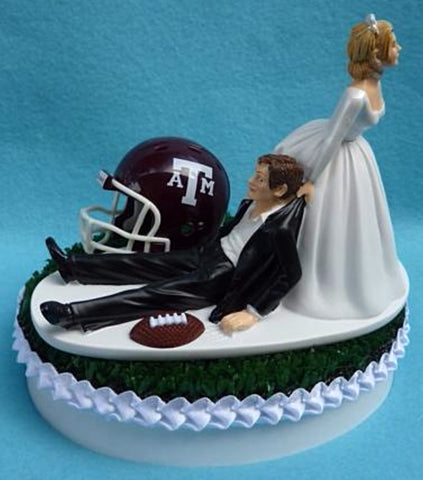 Texas A&M University wedding cake topper Aggies football TAM groom's cake top humorous funny bride dragging groom ball helmet green turf reception gift Fun Wedding Things