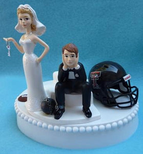 Texas Tech Red Raiders wedding cake topper humorous University ball chain key bride sad groom funny Fun Wedding Things