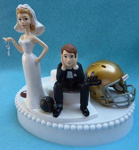 UCLA wedding cake topper University of California at Los Angeles Bruins football funny bride sad groom ball chain key humorous Fun Wedding Things