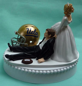 UCLA Bruins wedding cake topper football groom's cake top funny University of California at Los Angeles humorous football sports fans reception gift bride dragging groom Fun Wedding Things