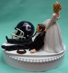 University of Connecticut wedding cake topper UConn Huskies football groom's cake top humorous funny bride dragging groom sports fans reception gift Fun Wedding Things
